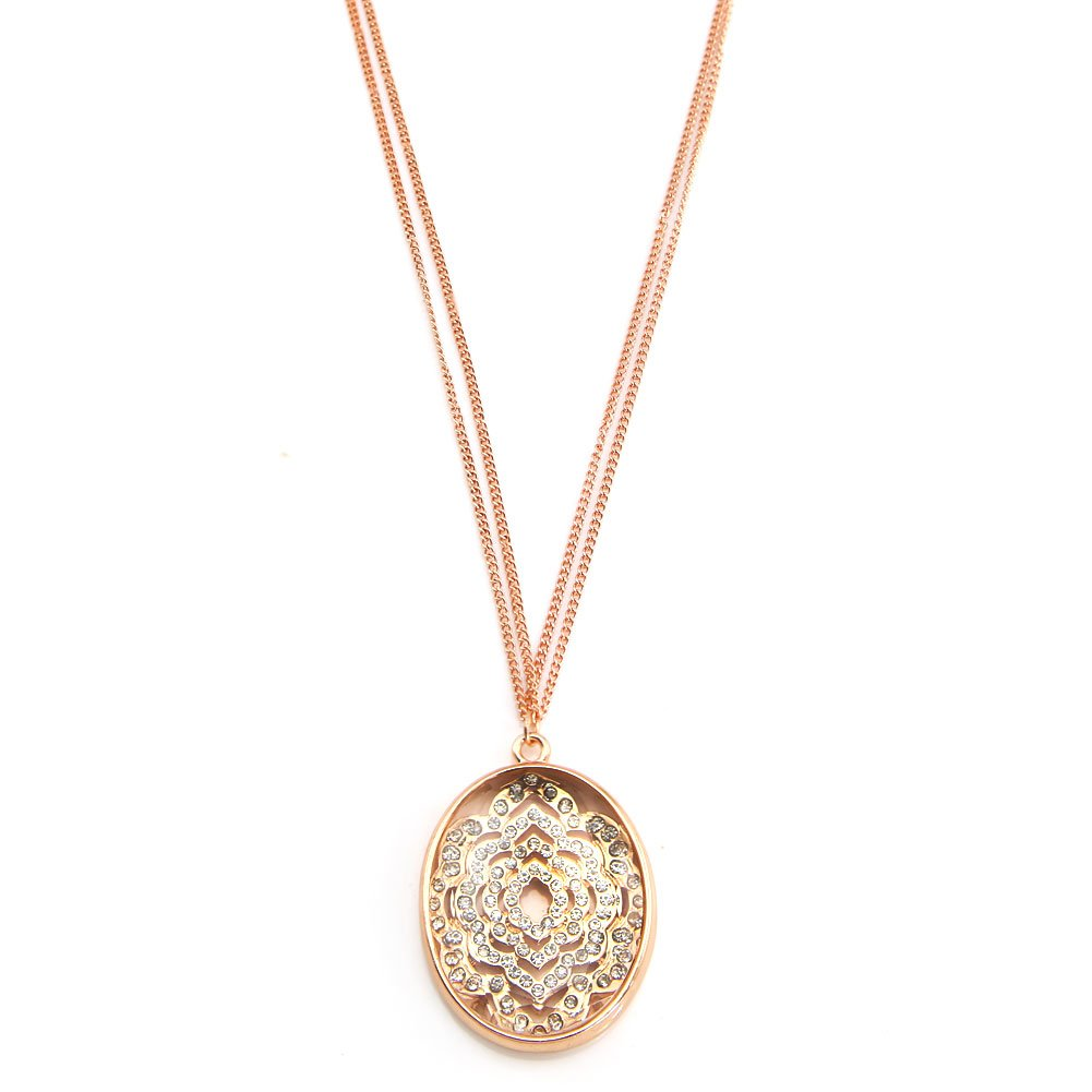 TrinketSea Long Chain Drop Y Pendant Necklace Rhinestone Luxury Stone Pink Gold Link Chain Necklaces by TrinketSea (Image #1)