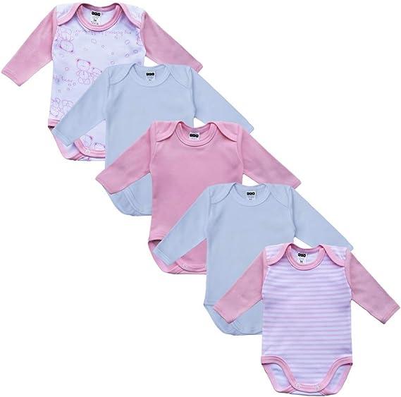 Baby Langarm Body aus 100/% Baumwolle im 5er Pack blau