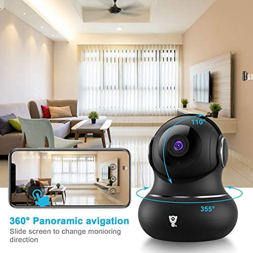 [Updated Version] Indoor Home Security Camera, Littlelf 1080p 2.4G WiFi Camera with Smart Motion Tracking Detection, 2-Way Audio, Night Vision and Cloud Service, Compatible with Alexa (Black) 514YxWDr6nL