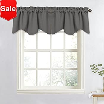 NICETOWN Bedroom Window Valance Blackout Tier   Home Decoration 52 Inch By  18 Inch Scalloped Valance Tier By (Grey, 1 Panel)