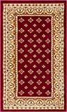 Noble Palace Red French European Formal Traditional Area Rug 2x4 ( 2'3'' x 3'11'' ) Easy to Clean Stain Fade Resistant Shed Free Modern Contemporary Floral Transitional Soft Living Dining Room Rug