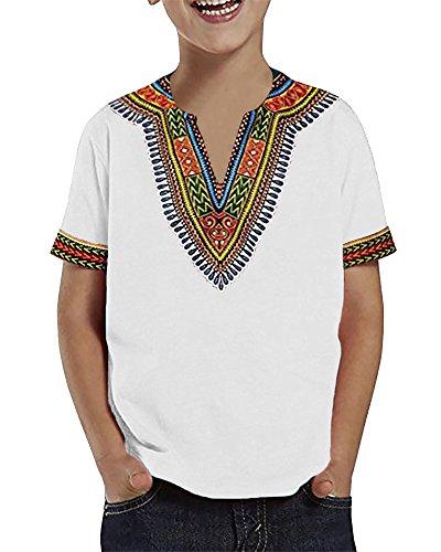 Fashion Kids T-shirt (Inorin Boys African Dashiki Caftan Tee Short Sleeve V Neck White Print T Shirt Tops)