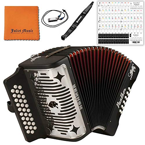 Hohner Panther F/B/E 3-Row Diatonic Accordion 3100FB - Black Bundle with Hohner Strap, Mini Harmonica, Juliet Music Polish Cloth & Piano Key Stickers