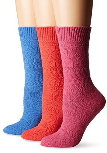 Muk Luks Womens Pointelle Diamond Crew Socks (3-Pack)
