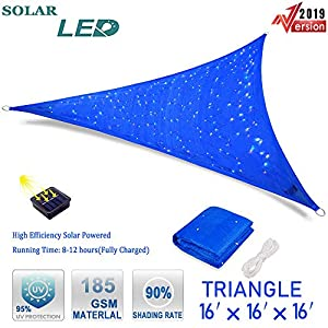 Hsuner Sun Shade Sail 16′ x 16′ x 16′ Patio Cover Triangle UV Block Canopy (Blue) with Waterproof Solar Starry Sky Lights for Garden Outdoor Shades Cover and Night Party
