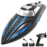 VOLANTEXRC Remote Control Boat for Pools and Lakes, 19mph High Speed RC Boat for Kids and Adults, 2.4Ghz Racing Ship with Self-righting, Reverse for Boys and Girls (795-3 Black with 2 Batteries)