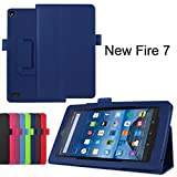 Amazon Fire 7 Case, SATURCASE PU Leather Flip Folding Folio Stand Protective Case Cover for Amazon Kindle Fire 7 Tablet (7.0 inch HD Display - 2015 release) Darkblue