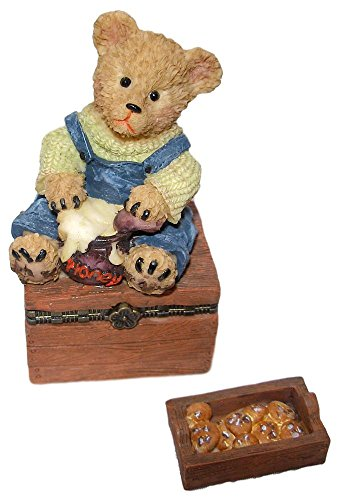 4 Inch Brown Teddy Bear - Direct Connection Co. Sweet Brown Teddy Bear Holding Honey Pot 2pc Resin Trinket Box