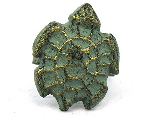 Handcrafted Decor K-1306-bronze Antique Bronze Cast Iron Turtle Decorative Napkin Ring44; 2 in. - Set of 2