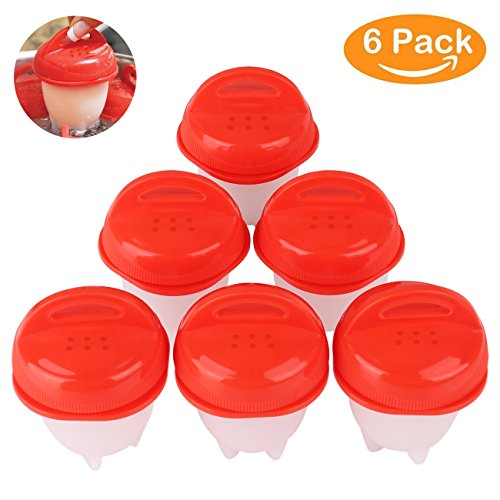 Egg Cooker  Hard   Soft Maker Silicone Egg Boil   Hard Boiled Eggs Without The Egg Shell As Seen On Tv  Bpa Free  Non Stick Silicone  6 Egg Cups  Red