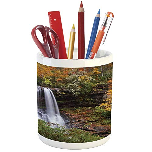 Copper Leaf Waterfalls (Pencil Pen Holder,Waterfall,Printed Ceramic Pencil Pen Holder for Desk Office Accessory,Autumn Waterfalls with Trees and Pale Fall Leaves in The Forest Print)