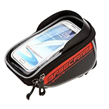 Basecamp Bike Bag Phone Holder, Cycling Bicycle Bike Front Frame Bags Top Tube Pouch handlebar Bag For Cellphone Below 5.5'' iPhone 6 6 Plus 5S 5 4S Samsung Galaxy S3 S4 S5 Note HTC One