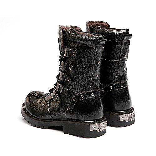 Chaussures pour Hommes Lace Up Block en Cuir à Talons Bas mi-Mollet Bottes de Combat Courir Une Taille Plus Grande,pour Hommes Black