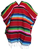 Del Mex (TM) Mexican Serape Adult Poncho Red)