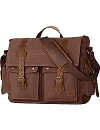 17.3 Inch Men's Messenger Bag Vintage Canvas Leather Satchel Laptop Bags Bookbag Working Bag for Men and Women Coffee