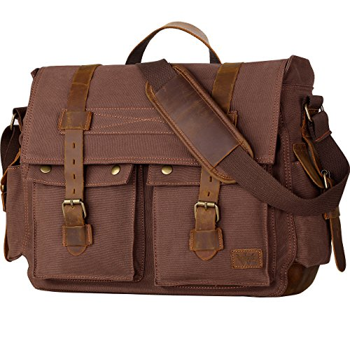 Leather Expandable Messenger - Wowbox 17.3 Inch Men's Messenger Bag Vintage Canvas Leather Satchel Laptop Bags Bookbag Working Bag for Men and Women Coffee