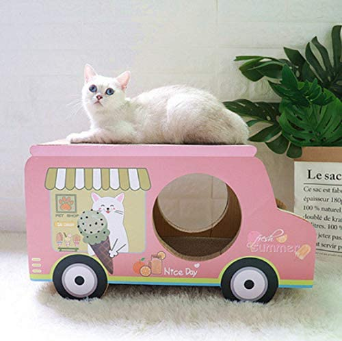 XZHH Tablero De Arañazos para Gato De Papel Corrugado Marco De Escalada para Gato De Coche Rosa Gato De Juguete Gato Caja De Cartón para Moler Cartón De Rascar Arena para Gatos: