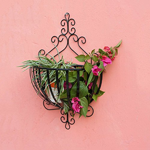 YUAN-huajia Plant Flower Display Stand Wrought Iron Hanging Flower Basket Hanging Basket Hanging Basket Hanging Basket Flower Pot Hanging Balcony Wall Flower Rack Flower Racks Home Decoration - Standing Wrought Iron Basket