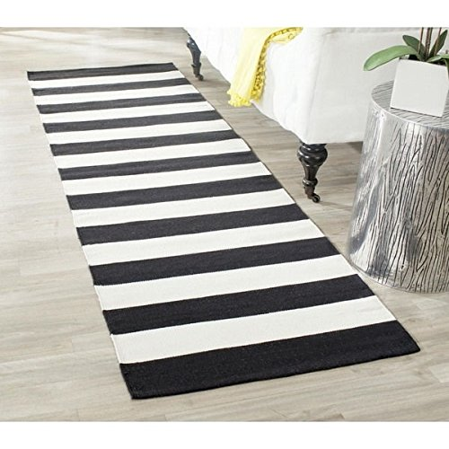 Black Safari Collection Rug (Single Piece Black White Cotton Runner Rug, Geometric Zebra Stripes Pattern, Hand-Woven, 2 ft.3 in. x 7 ft., Contemporary Casual Style, Indoor Type, Hand-crafted, Montauk Collection, Medium Off-White)