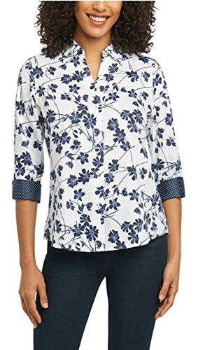 Pinpoint Oxford Shirt Non-Iron Stretch Poplin Shirt (White/Navy Floral Print, Small) ()