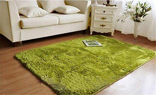 Luxbon Hochflor Langflor Teppich Stopp Antirutschmatte Teppichunterlage Fussmatten Rug Einfarbig Gras-Grün 60x120 cm