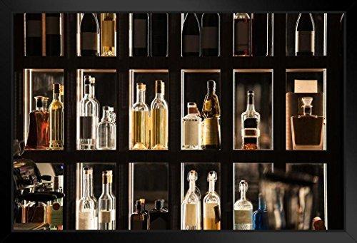 (Alcohol Beverages Bar Shelf Illuminated Display Photo Art Print Framed Poster 20x14 inch)