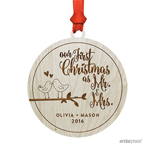 (Andaz Press Personalized Laser Engraved Wood Christmas Ornament with Gift Bag, Bride & Groom Love Birds Our First Christmas as Mr. & Mrs, Round Shape, 2019, Custom Name, 1-Pack )