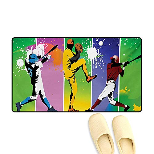 - Bath Mat,Players in Different Positions in Playground Action Catcher Pitcher Modern Sports,Floor Mat Pattern,Multicolor,16