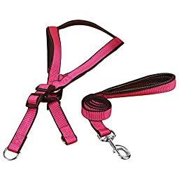 Quno Non Pull Nylon Pet Puppy Dog Harness & Leash Lead Set Adjustable Hot Pink XL