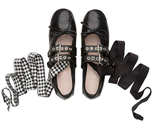Scarpe Da Donna Nove In Pelle Di Mucca Punta Quadrata Tacco Piatto Classico Fatto A Mano Mary Jane Baller Flats Nero