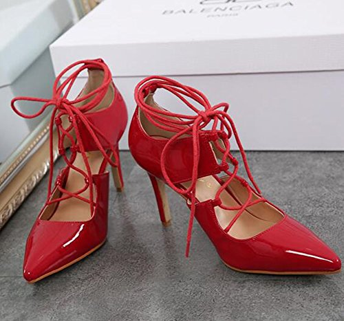 High Women's Burnished Stylish Stiletto Red Pointed Aisun Sandals Tie Heels Self Toe T81wwx