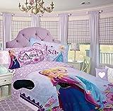 Disney Frozen Elsa and Anna FULL Comforter + Home Style Brand Sleep Mask 2 Pc Bedding Set (Lavender Frozen FULL Comforter Only 76