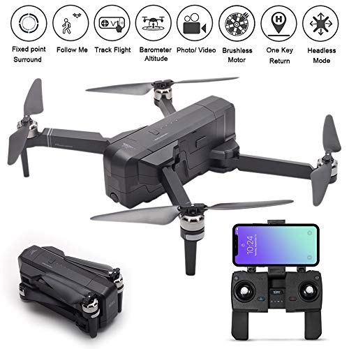 MOSTOP SJRC F11 GPS Drone 5G WiFi FPV RC Quadcopter Drone Foldable 1080P Camera Record Video App Control iOS Android One-Key RTH Follow Me 3D Visual Brushless Motor Track Flight Headless (Black)