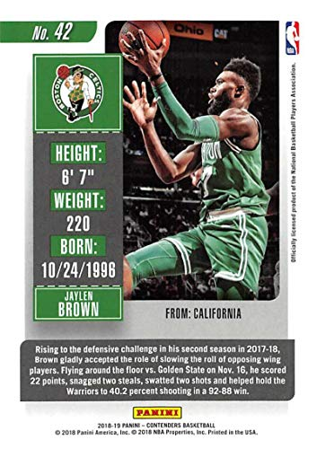 Amazon.com  2018-19 Panini Contenders Season Ticket  42 Jaylen Brown Boston  Celtics NBA Basketball Trading Card  Collectibles   Fine Art 8f95a840d