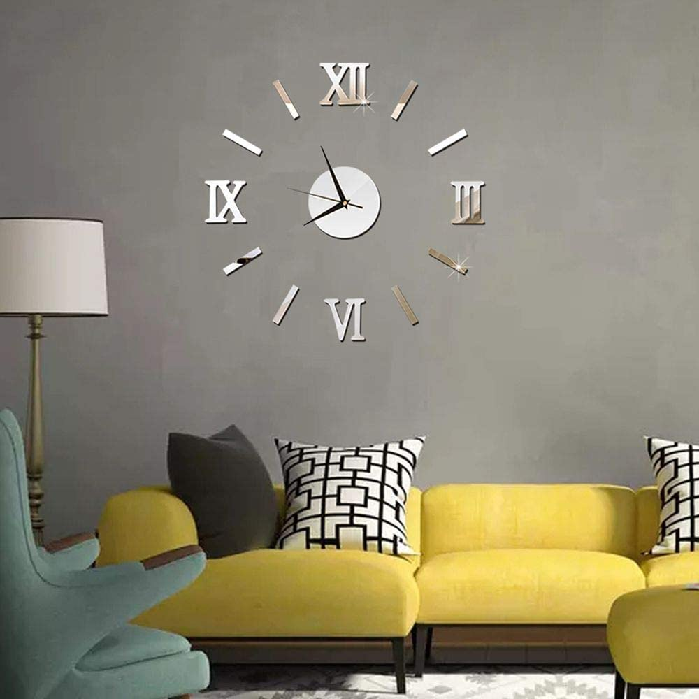 DAWEIF DIY Wall Clock 3D Acrylic Art Stickers Decals Modern Home Decor for Living Room Bedroom
