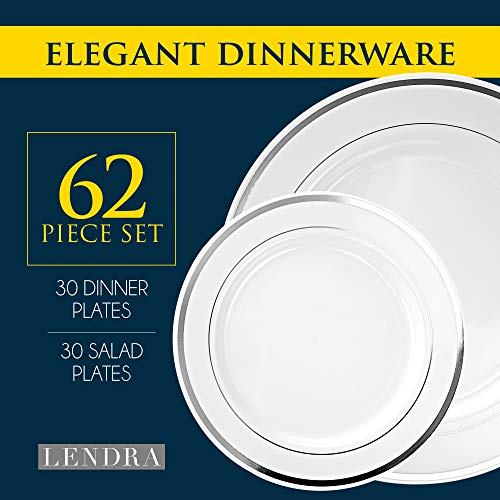 Disposable Plastic Party Plates - 62 Piece Dinnerware Set - 31 Salad Plates and 31 Dinner Plates for Wedding, Banquet, Bridal Shower - Durable White Round Decorative Plate with Elegant Silver Rim
