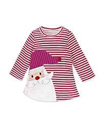 ZHUOTOP Kids Girls Deer Striped Dresses Christmas Dress Cute Lovely Princess Dresses