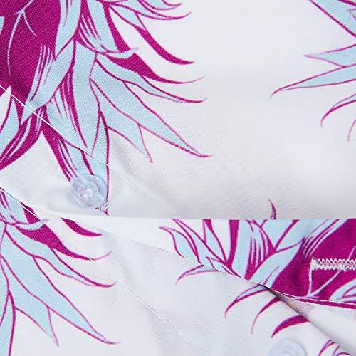 Hawaiana B Stampa Regular Manica Camicia ananas Uideazone Fiore Casuale Hawaiano Fit Uomo Corta odWrxBeC