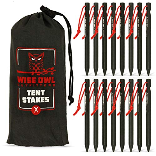 🥇 Wise Owl Outfitters Tent Stakes 7075 Heavy Duty Aluminum Metal Ground Pegs – Perfect to Stake Down A Tarp and Tents – Best Easy Lightweight Strong Outdoor Camping Spikes