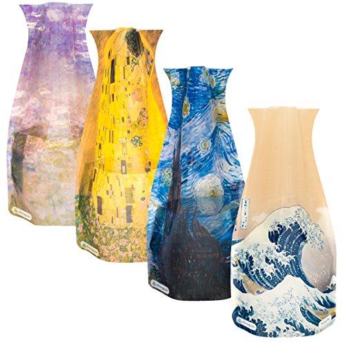 - Van Gogh, Klimt, Hokusai, Monet Plastic Expandable Vase Set - NOT Glass