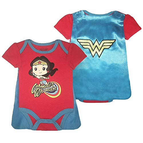 Infant Girls Wonder Woman Bodysuit - DC Comics Wonder Woman Short Sleeve Cape Onesie (Red Cape, 0M-3M)