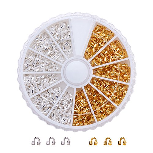 Pandahall Elite 1 Pack Gold Silver Brass Wire Guardian Wire Protector In Box For Jewelry Making 5X4x1mm