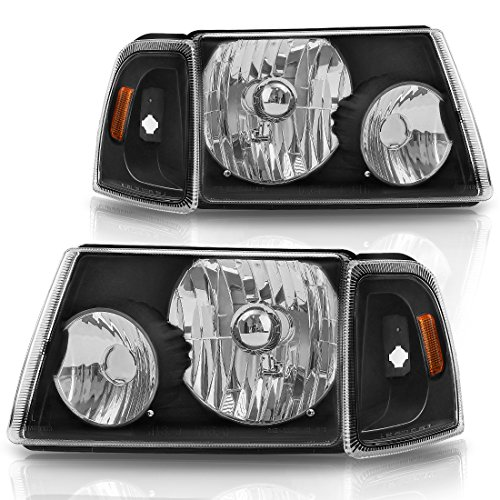 AUTOSAVER88 For 01 02 03 04 05 06 07 08 09 10 11 Ford Ranger Headlight Assembly+Corner light,OE Projector Headlamp,Black Housing Clear Lens
