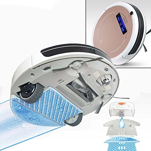 r, Self-Charging Robotic Vacuum Cleaner with UV-C Sterilizer and HEPA Air Filter for Pet Fur and Allergens, Wet Mop for Hard-Surface Floors, Extra-large Bin Capacity, Rose Gold ()