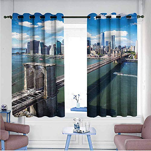 Mdxizc Curtain for Kids Landscape Aerial Brooklyn Bridge Children's Bedroom Curtain W72 xL63 Suitable for Bedroom,Living,Room,Study, etc.