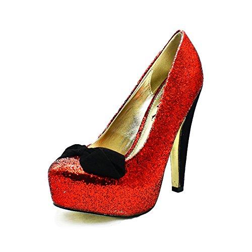 Zapatos redondos brillantes rojas del partido del dedo del pie con lazo de terciopelo