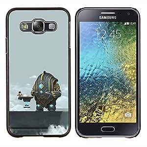 TECHCASE---Cubierta de la caja de protección para la piel dura ** Samsung Galaxy E5 E500 ** --Divertido Espacio Abstracto Café