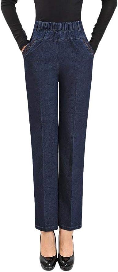Moda Y Cómodo Mujer De Mediana Edad del Pantalones Vaqueros Dril De Algodón Años 20 De Las Señoras De Cintura Alta Pantalones Elásticos Sueltos Pantalones Rectos: Amazon.es: Ropa y accesorios