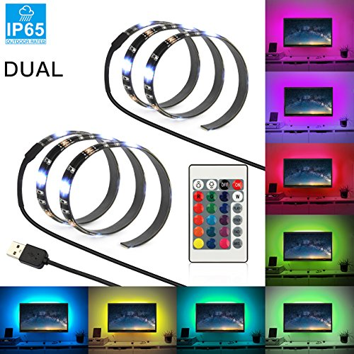 USB LED Strip Light, SHINE HAI 7.2W 2×1.64ft Dual Flexible Bias Lighting LED TV Backlight, Waterproof IP65 with 24 Keys RGB Remote Control and 5V USB Connectors for HDTV Background (Hai Home Control System)