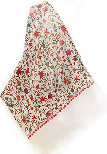 Red Flowers Green Leaves Brown Vines Crewel Embroidered IvoryWool Pashmina Shawl